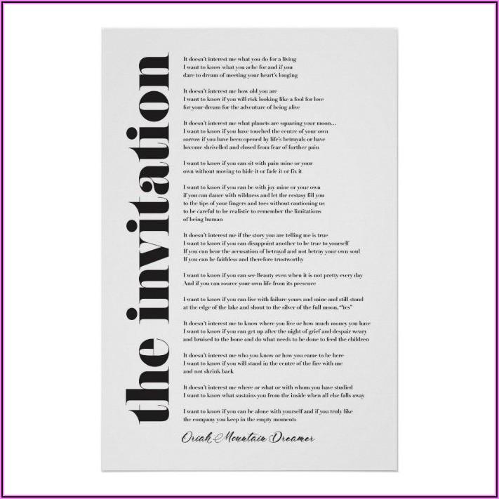 Oriah Mountain Dreamer The Invitation Poster