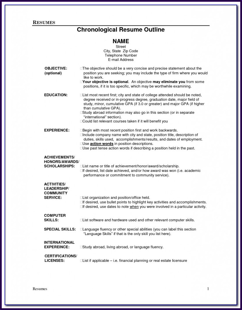 Outline Of A Good Resume