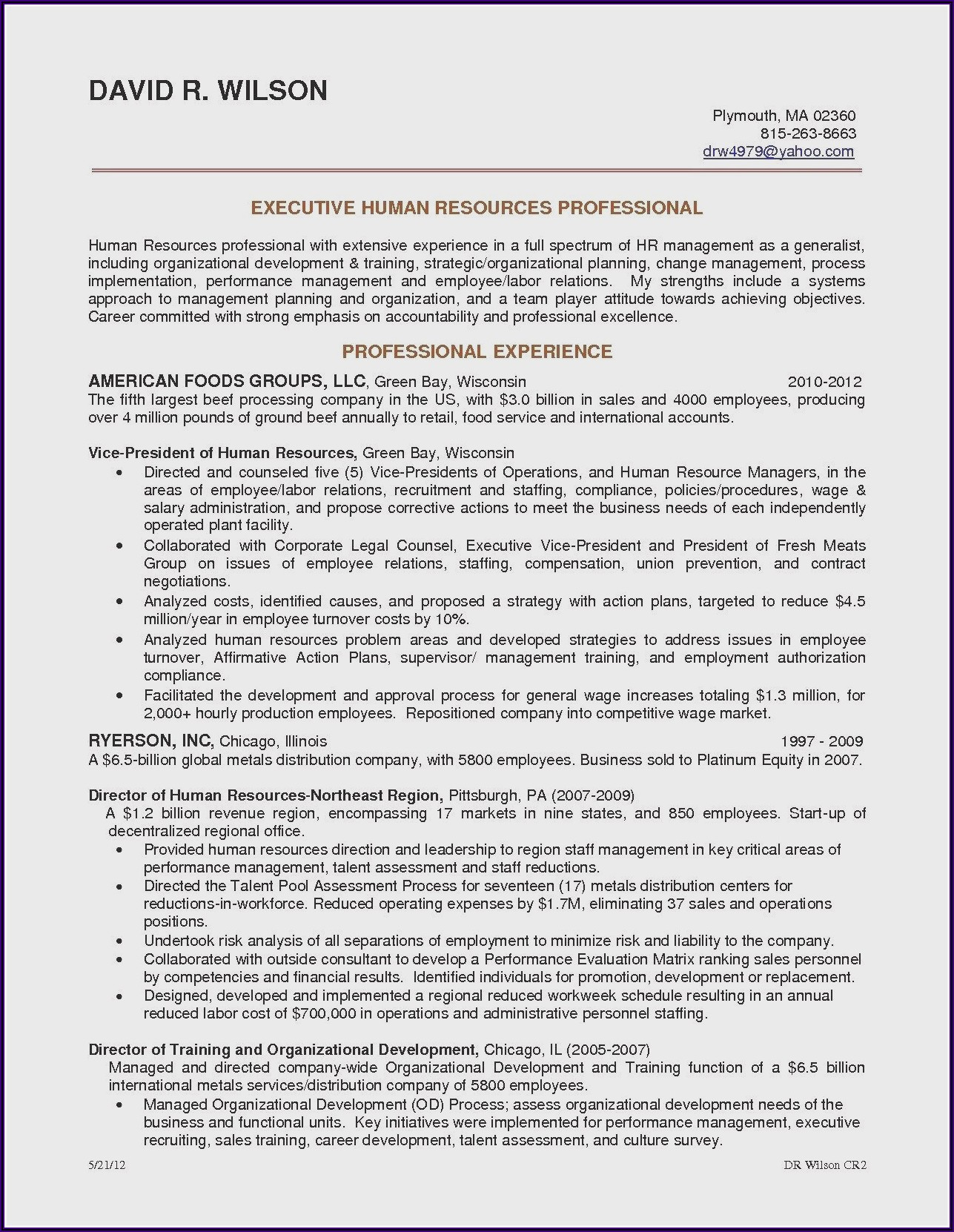 Outline Of A Professional Resume