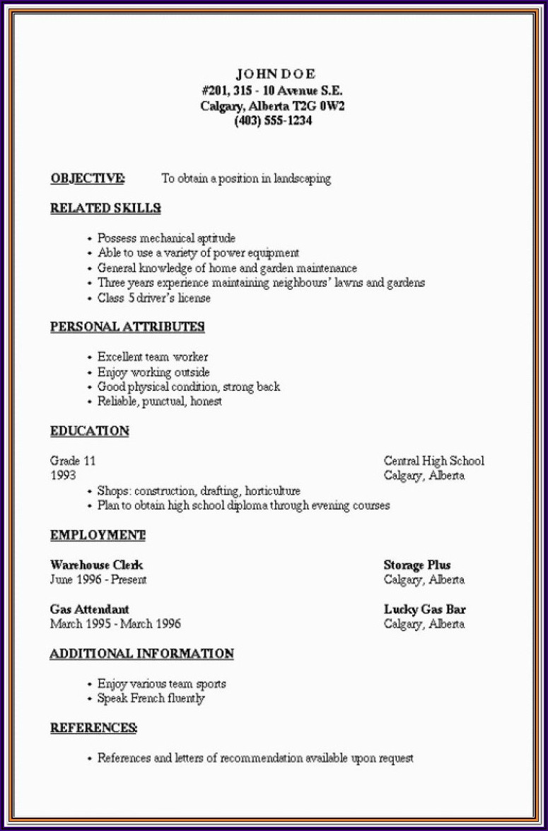 Outline Of A Simple Resume