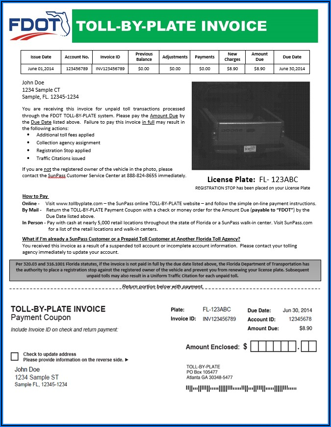 Pay By Plate Invoice Fdot