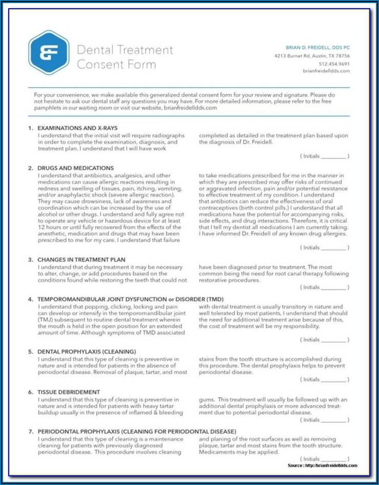 Pediatric Dental Treatment Consent Forms