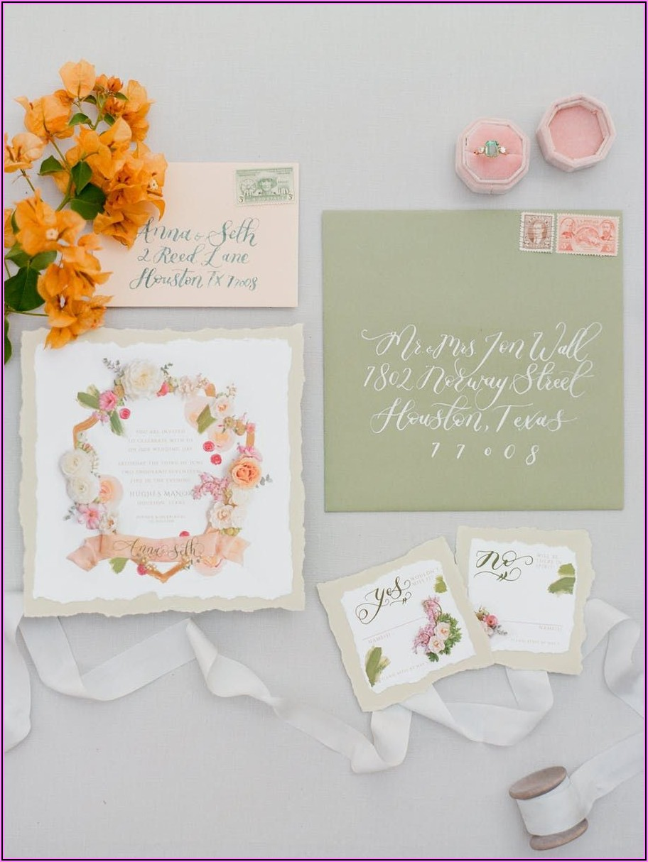 Pink And Green Floral Wedding Invitations