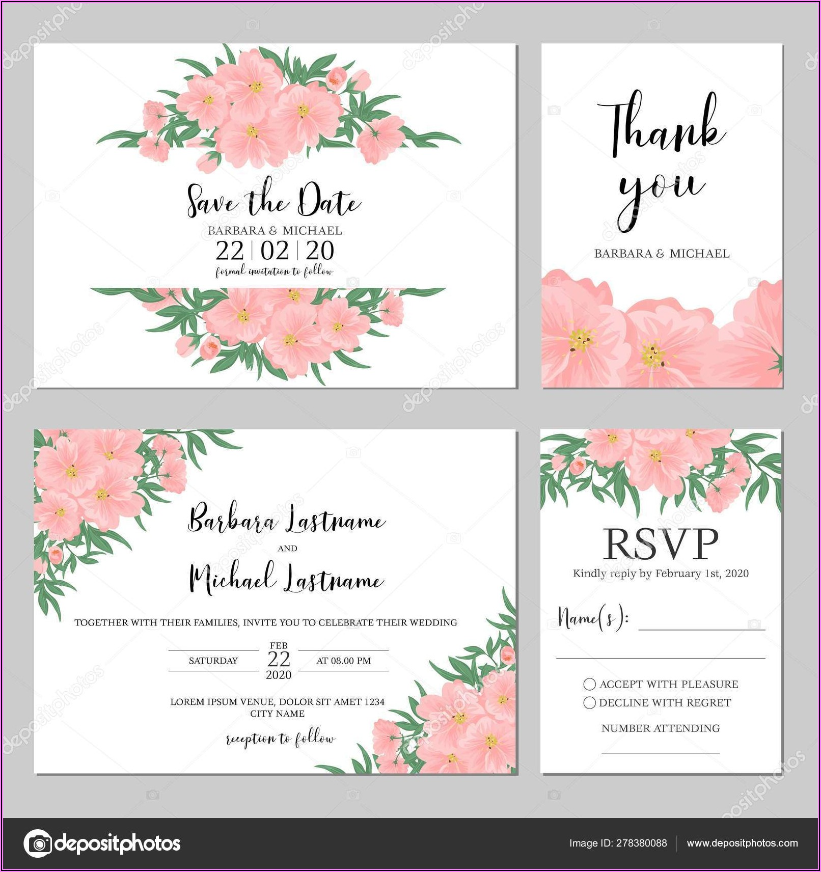 Pink Floral Wedding Invitation Template