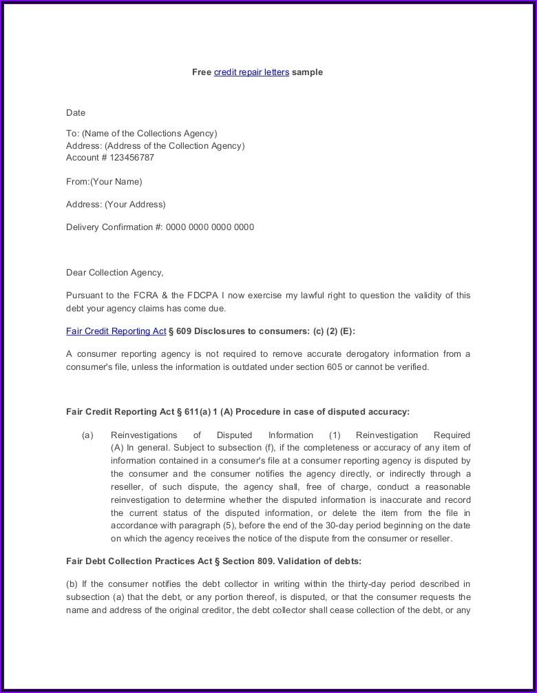 Printable 609 Letter Template Pdf