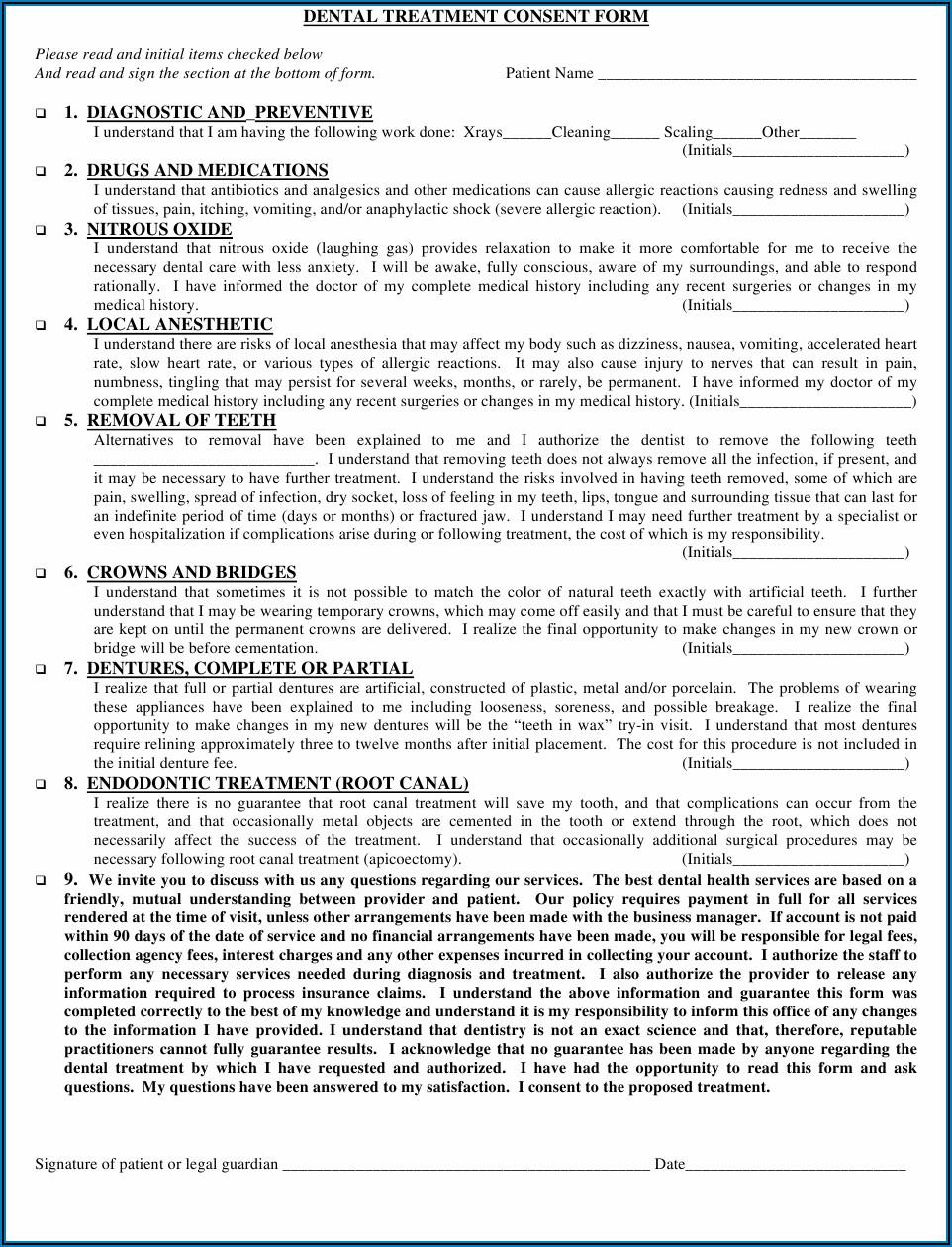 Printable Dental Treatment Consent Form