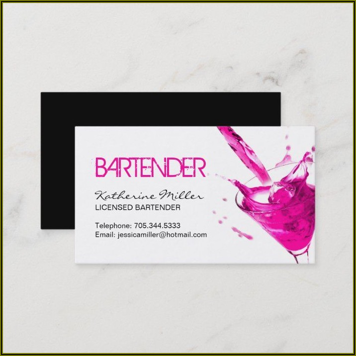 Private Bartender Business Cards
