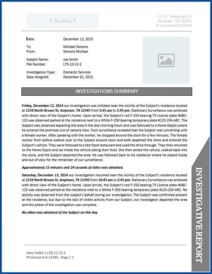 Private Investigator Invoice Template