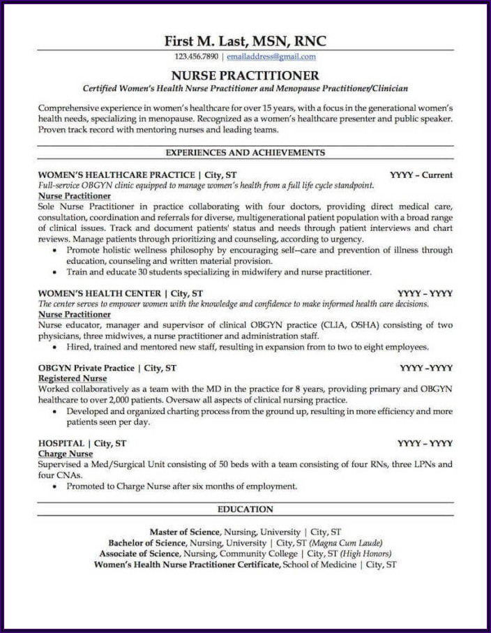 Professional Registered Nurse Resume Sample