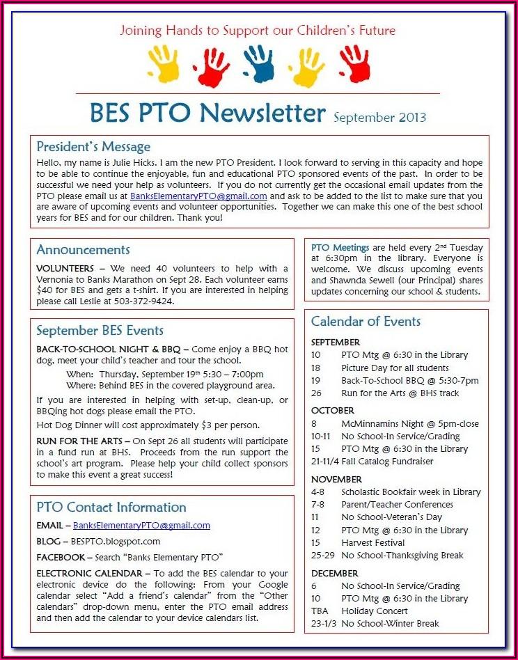 Pta Newsletter Templates Free