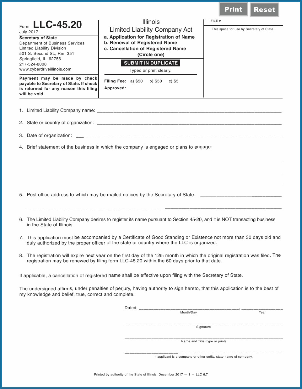 Register A Foreign Llc In Illinois