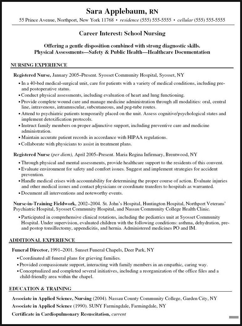 Registered Nurse Resume Sample Format Doc