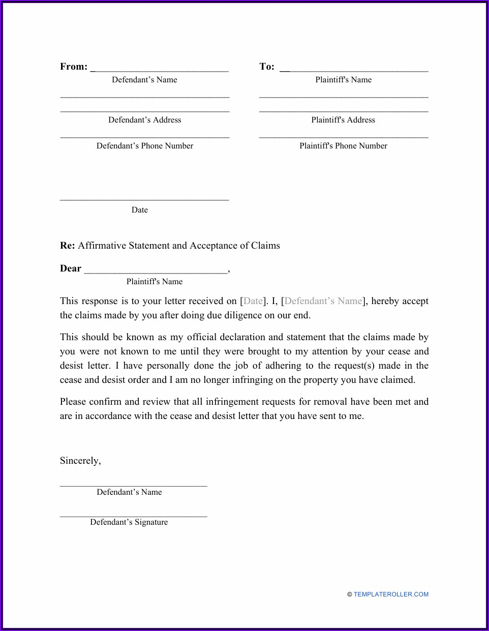Response To Cease And Desist Letter Template