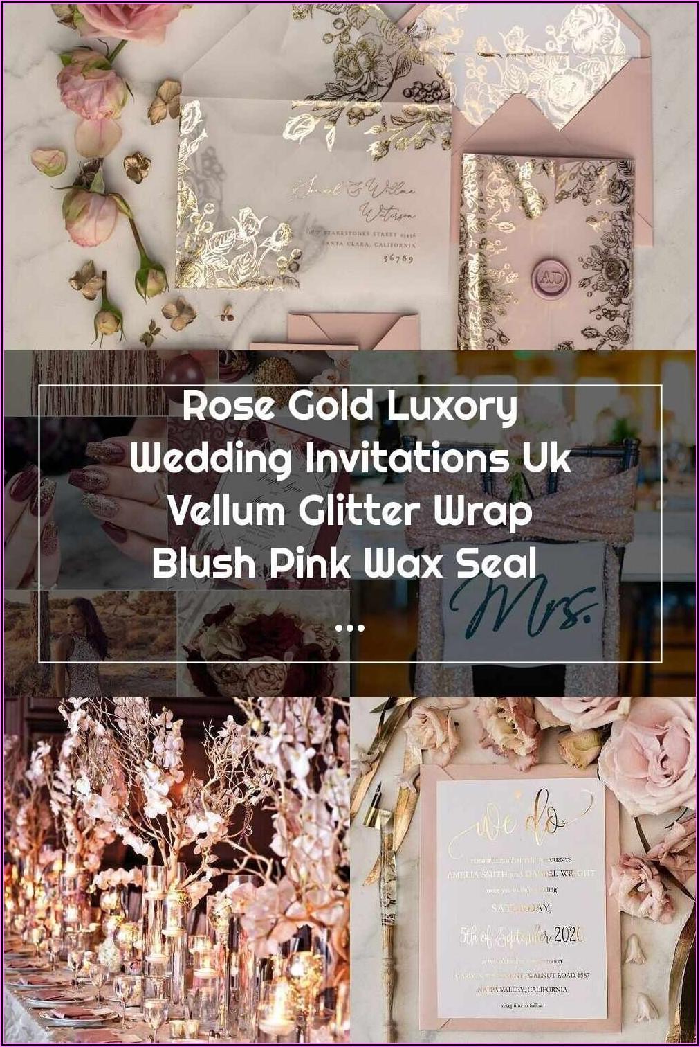 Rose Gold Glitter Wedding Invitations Uk