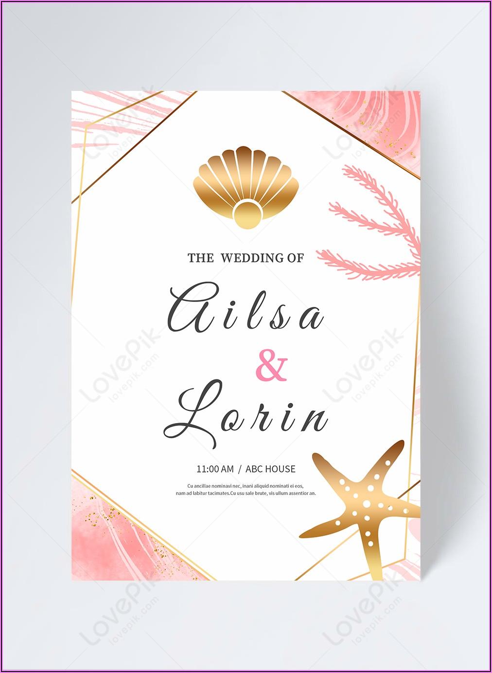 Rose Gold Wedding Invitation Template Free