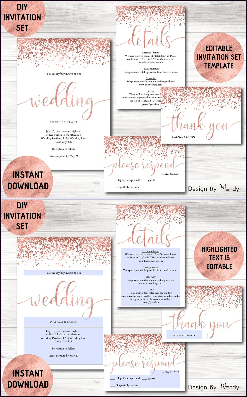 Rose Gold Wedding Invitation Template