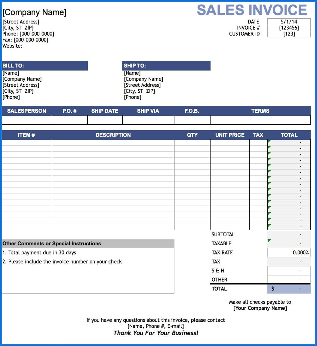 Sales Bill Format In Word Free Download