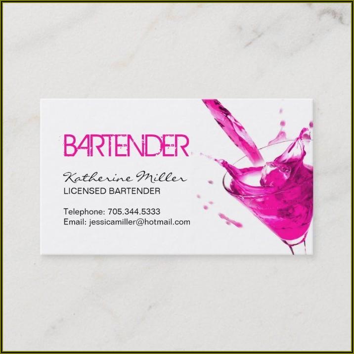 Sample Bartender Business Cards