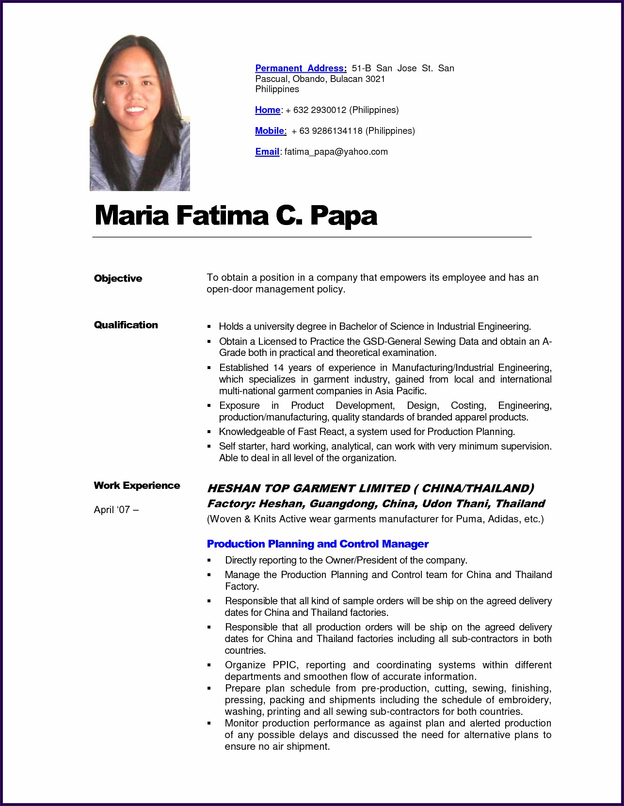 Sample Resume For Newly Registered Nurse Philippines