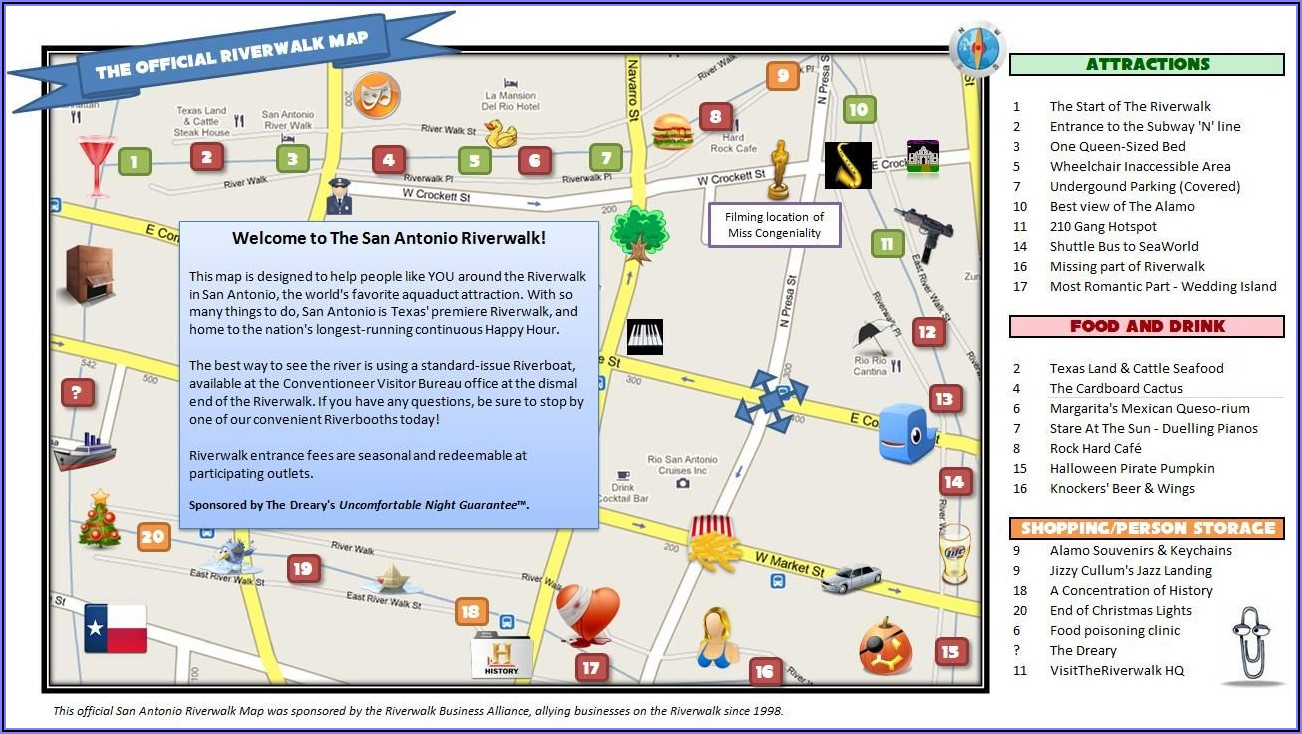 San Antonio Riverwalk Attractions Map