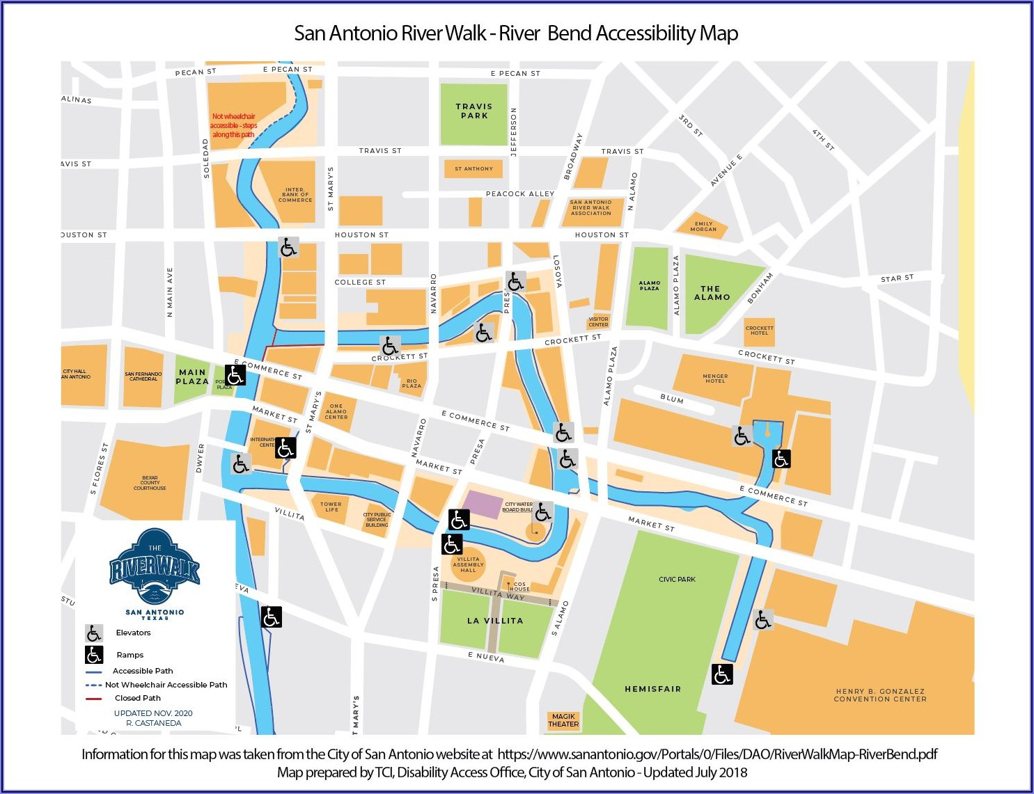 San Antonio Riverwalk Bars Map