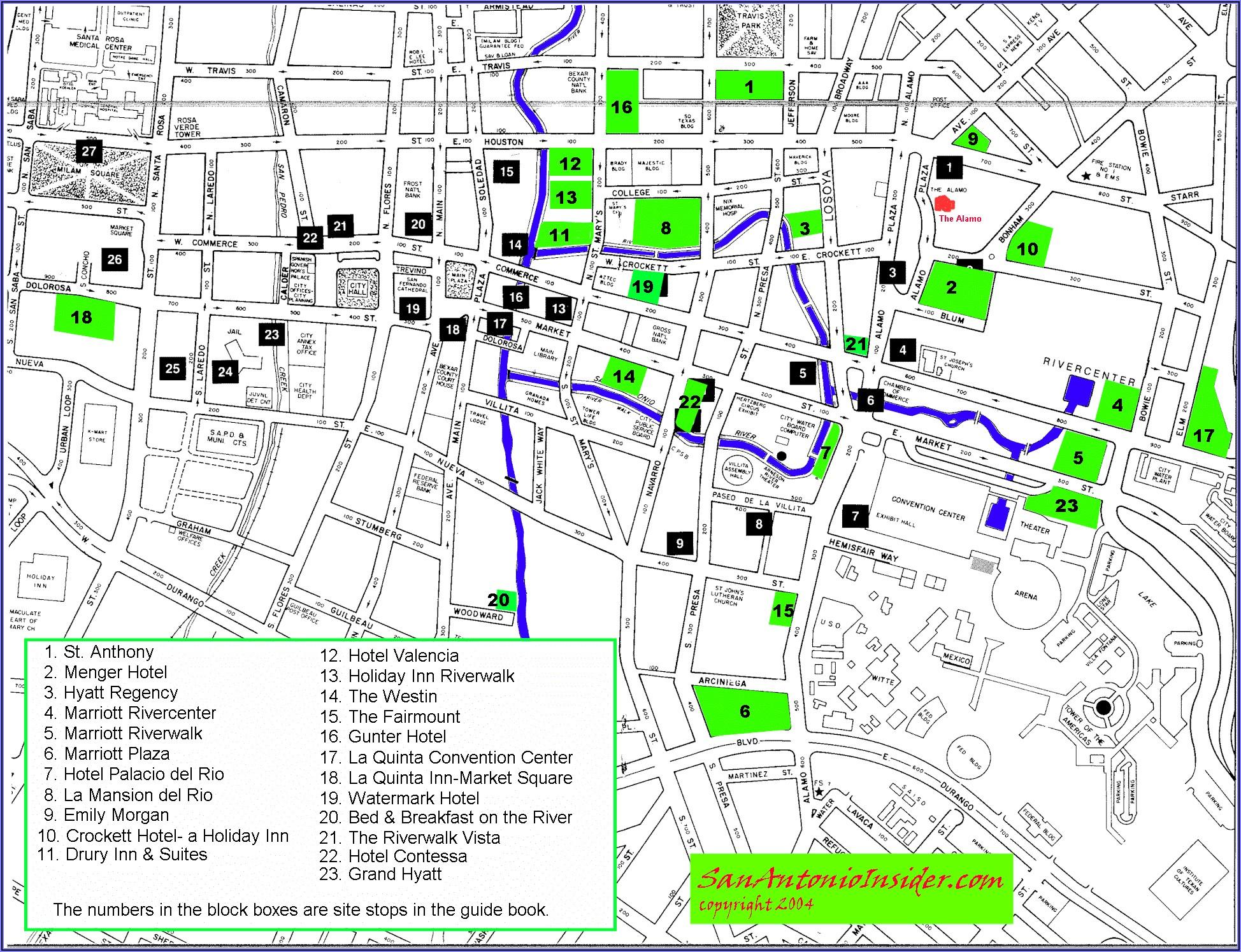 San Antonio Riverwalk Map Of Hotels