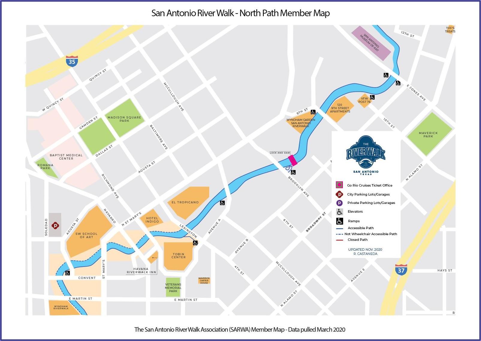 San Antonio Riverwalk Trail Map