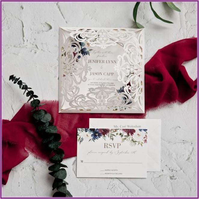 Silver Laser Cut Burgundy Floral Wedding Invitations