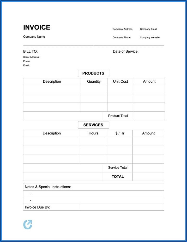 Simple Invoice Template For Services Rendered