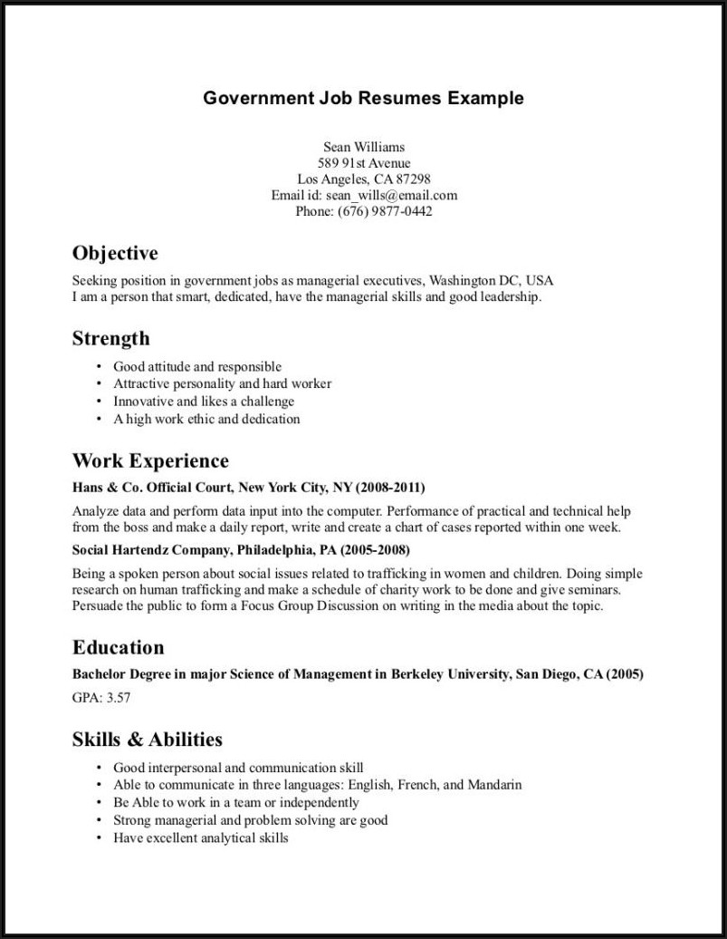 Simple Resume Examples For Jobs