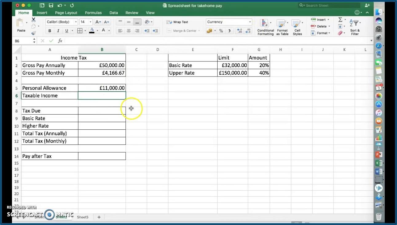 Spreadsheet Income Tax Formula