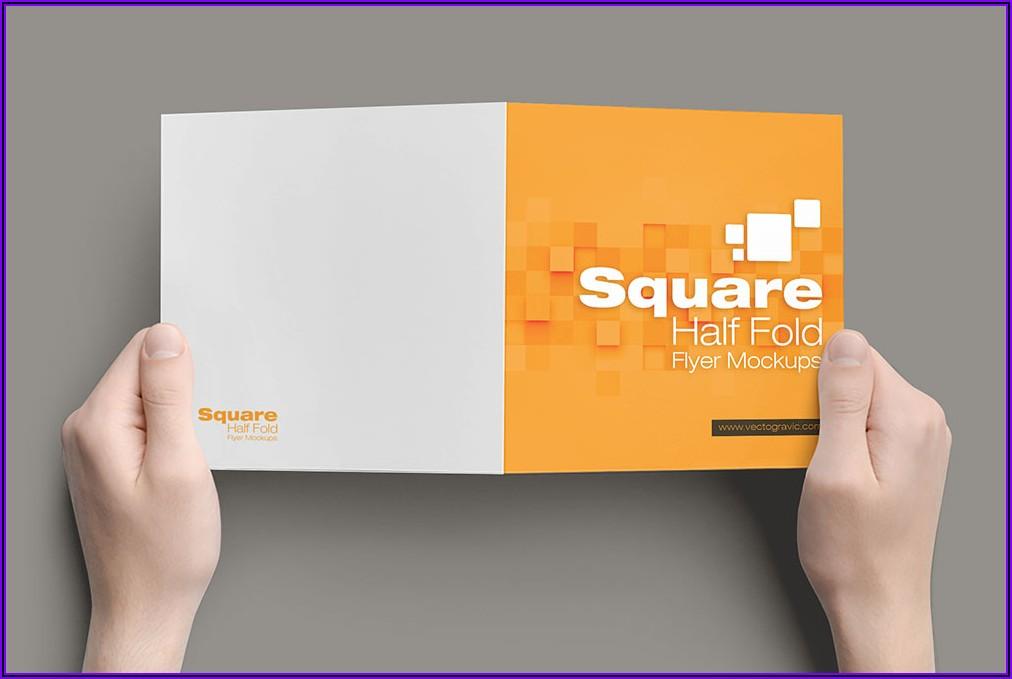 Square Bifold Brochure Mockup Free