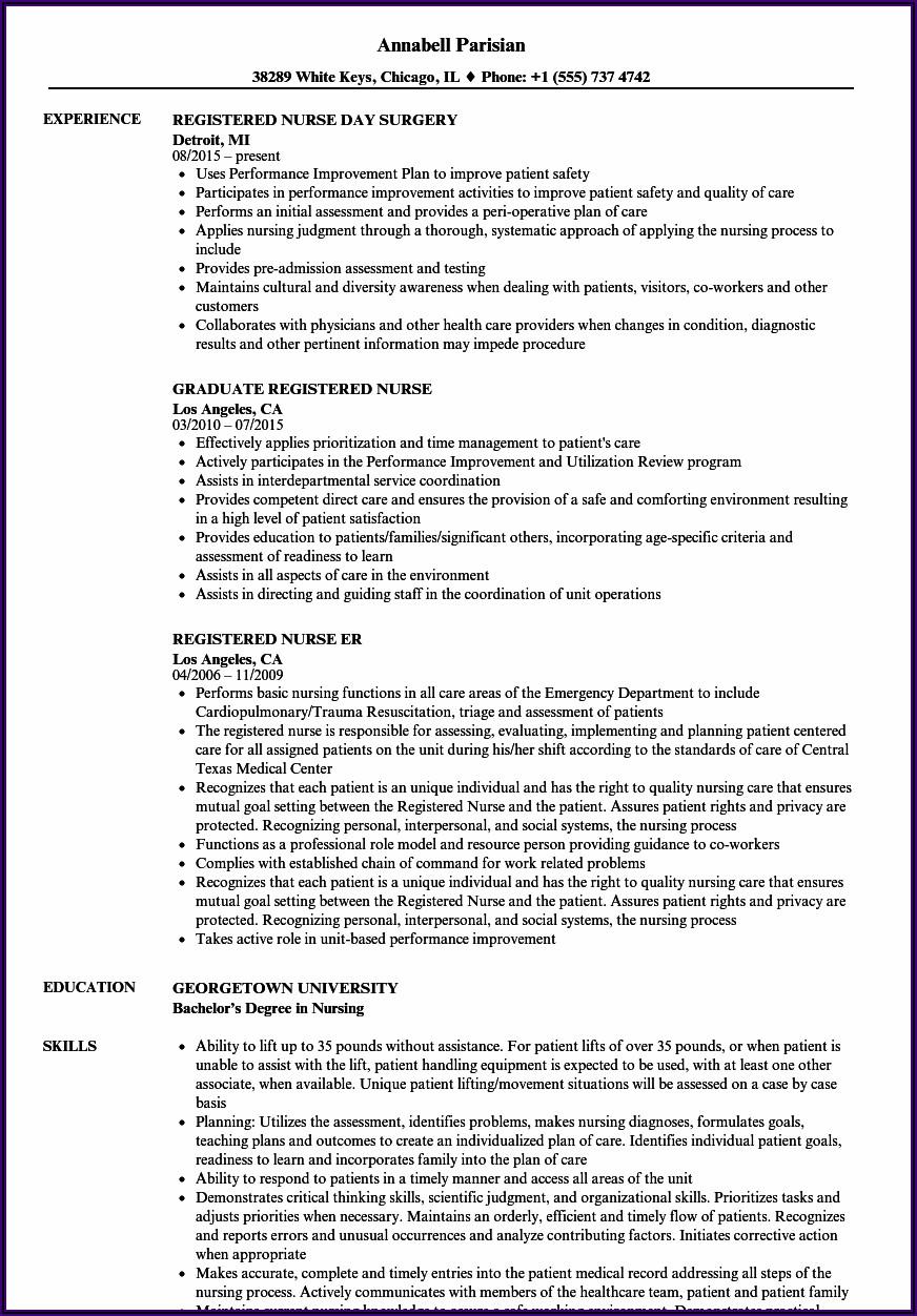 Staff Nurse Registered Nurse Resume Sample Format