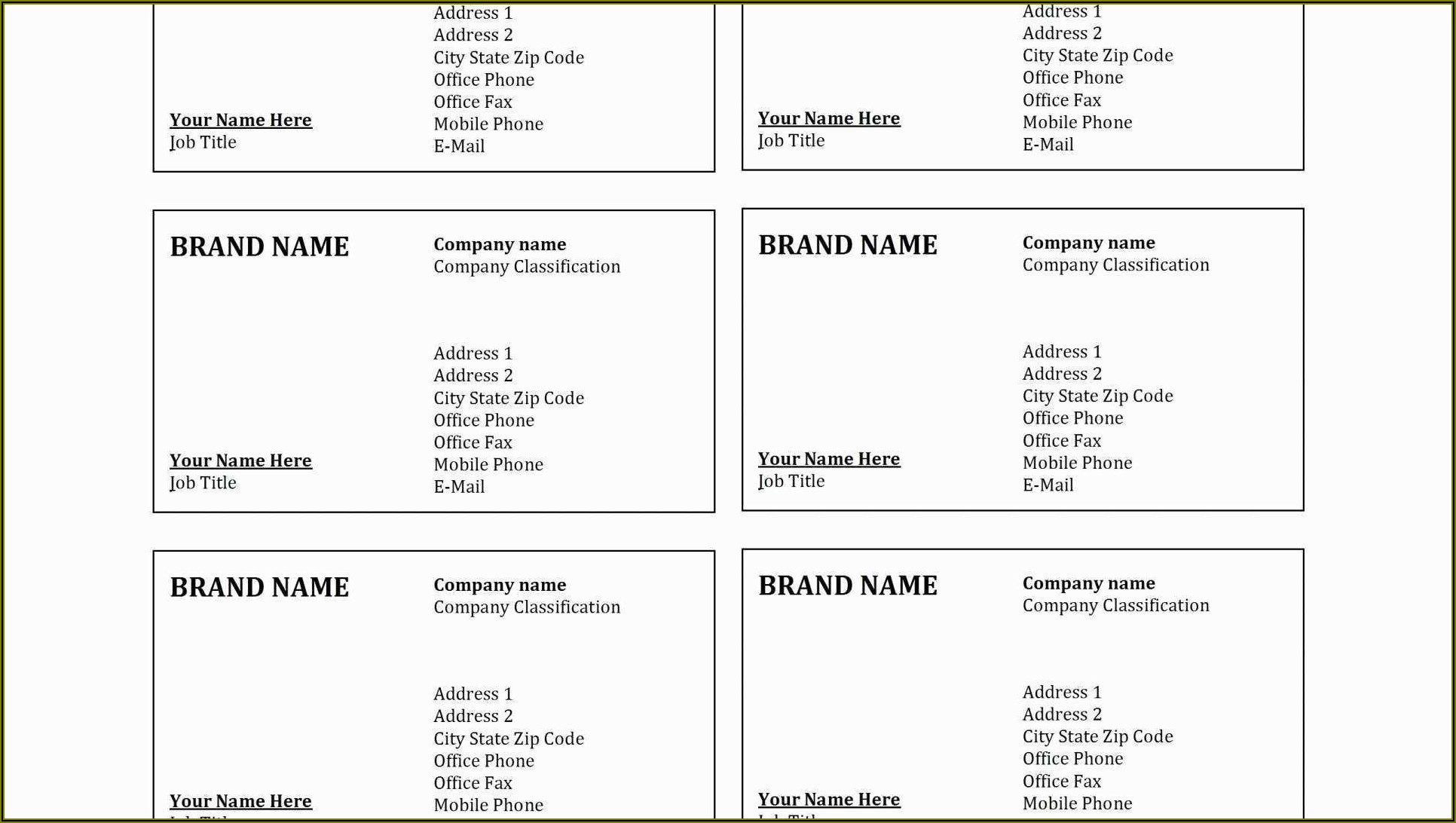Staples Name Cards Template