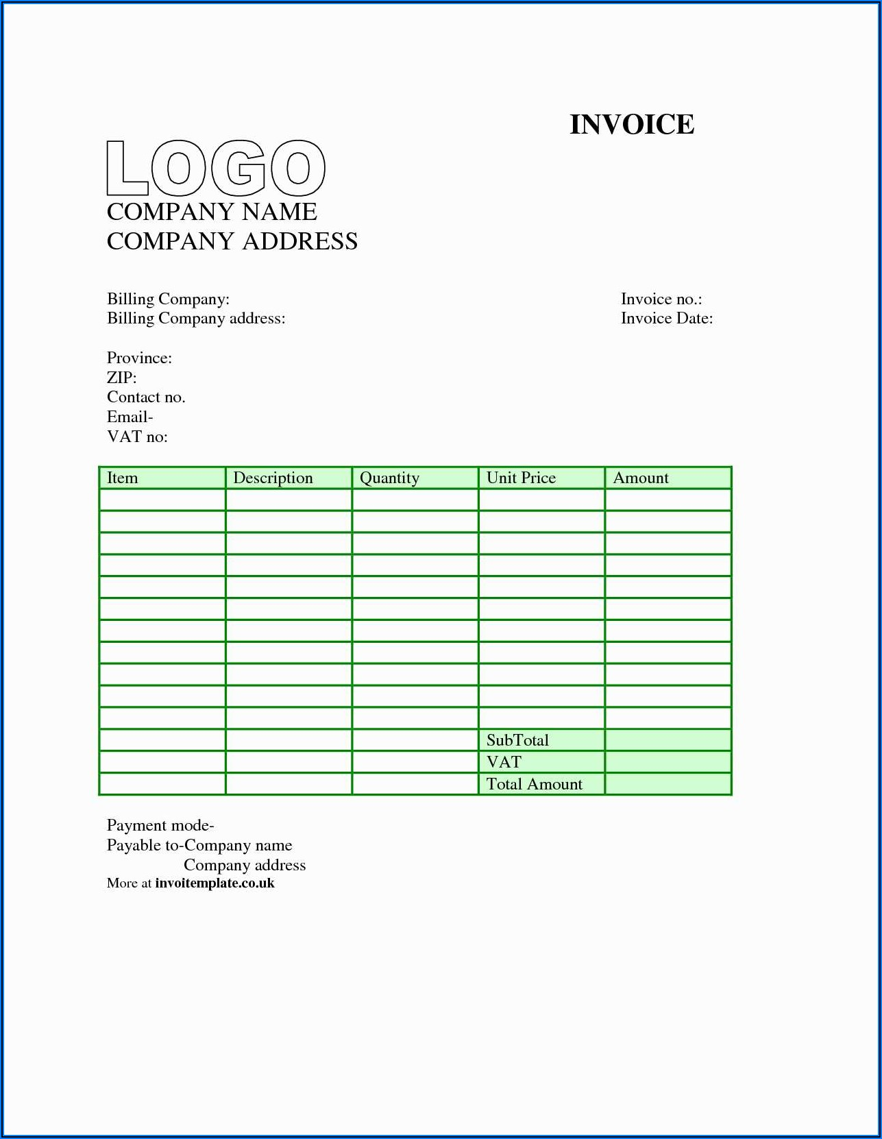 Subcontractor Invoice Template Uk