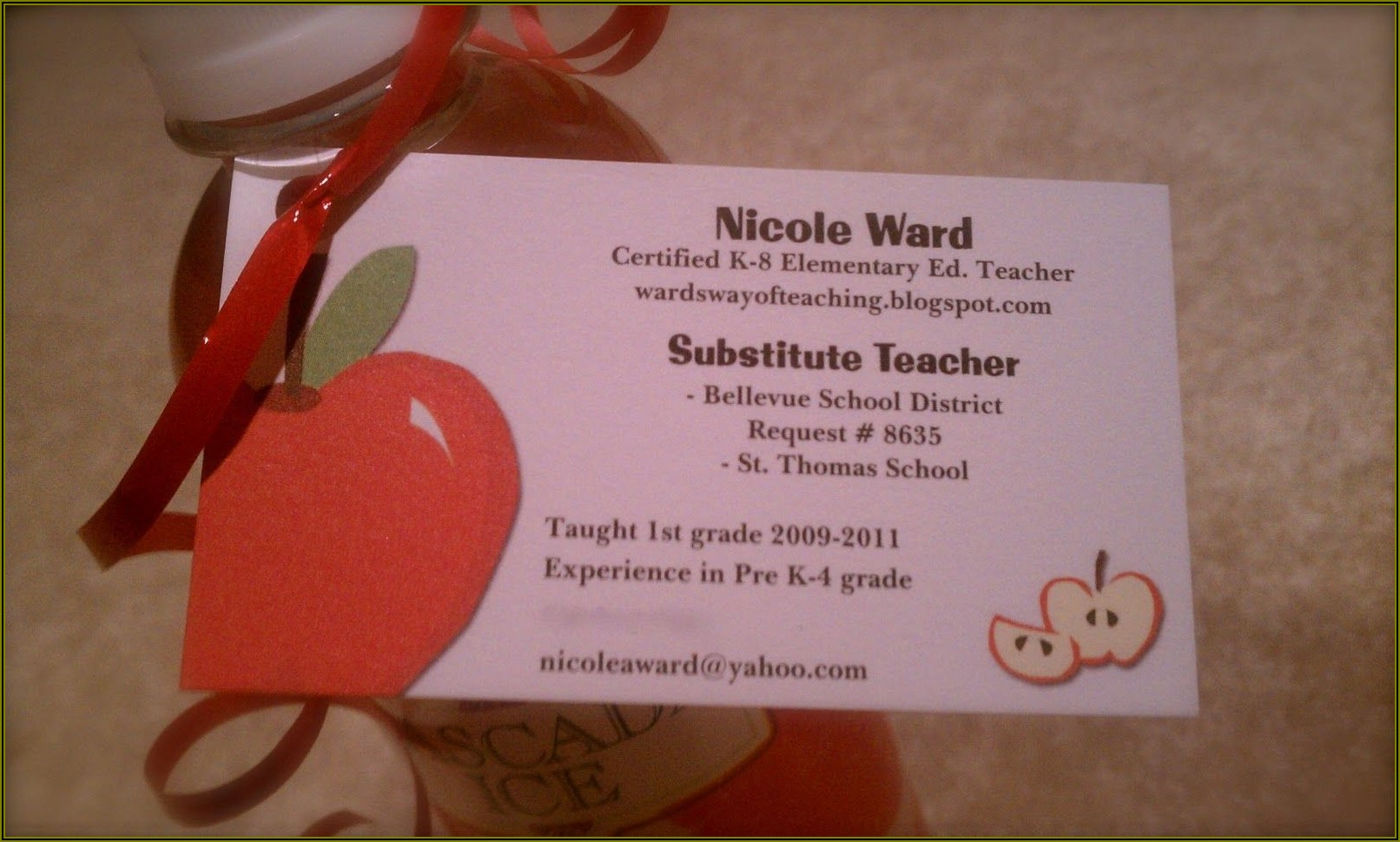 Substitute Teacher Business Card Ideas
