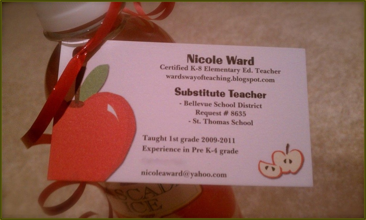Substitute Teacher Business Cards Templates Free