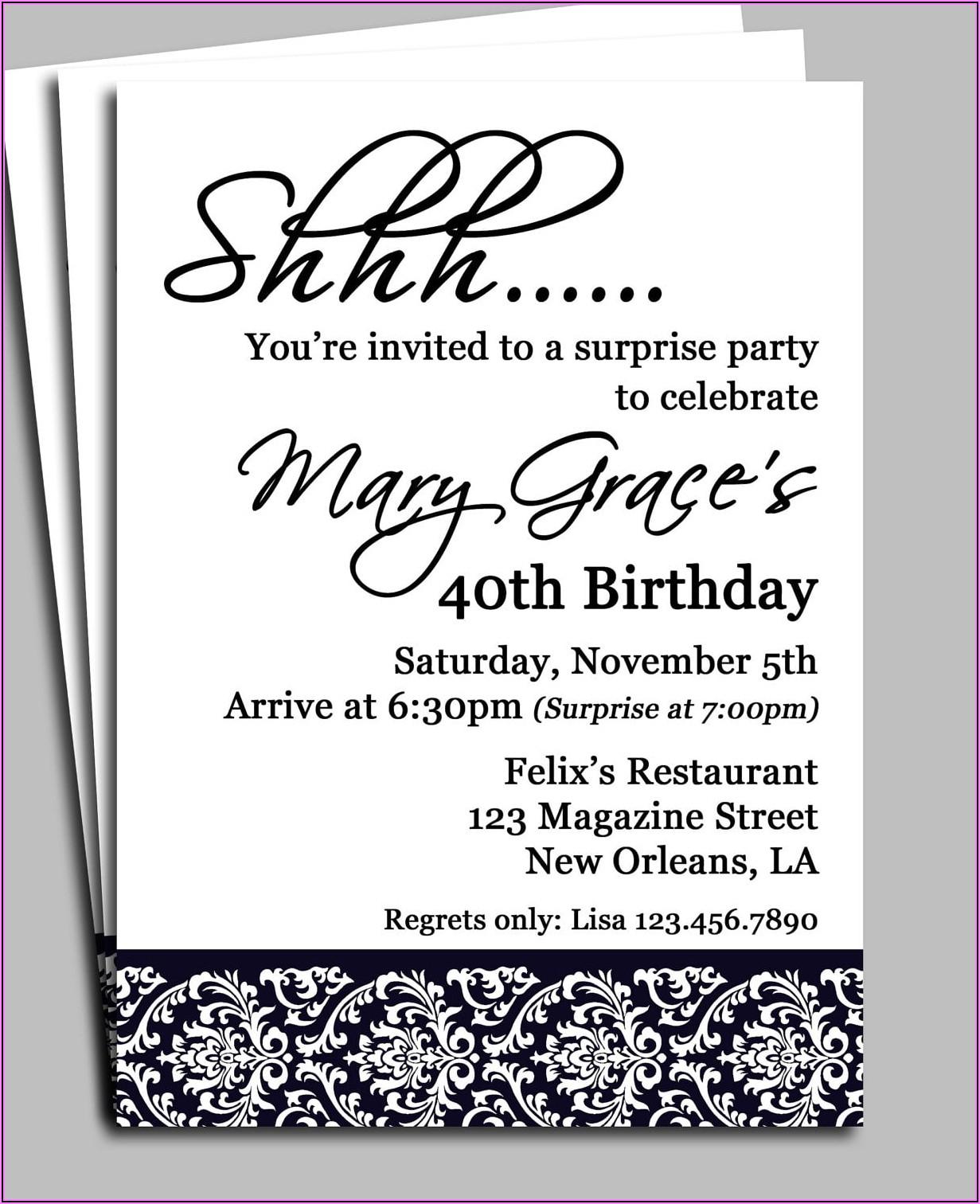 Surprise 40th Birthday Invitation Wording