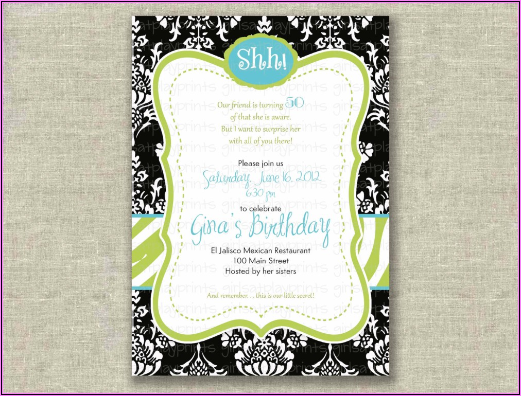 Surprise 50th Birthday Invitation Wording