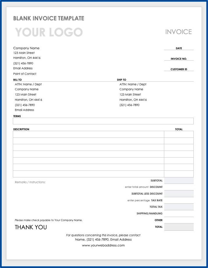Word Document Blank Invoice Template