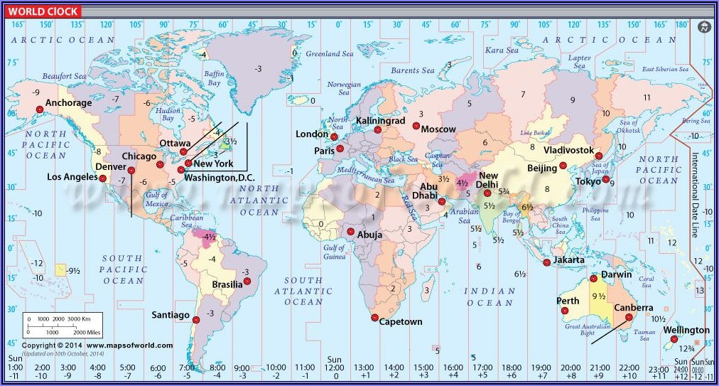 World Time Clock Map