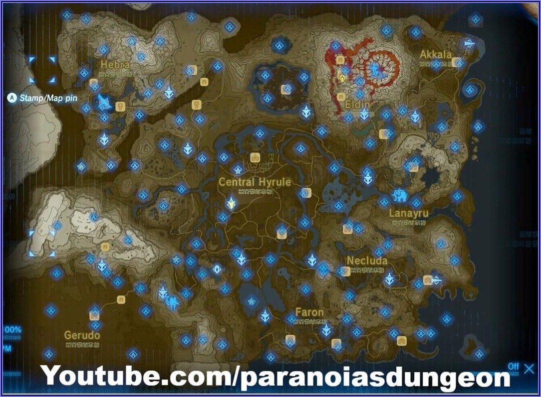 Zelda Breath Of The Wild Full Shrine Map