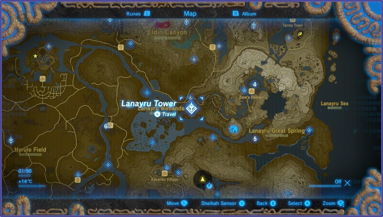 Zelda Breath Of The Wild Shrine Location Map