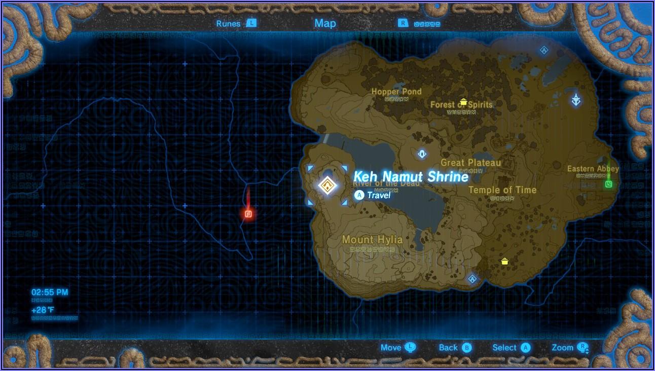 Zelda Breath Of The Wild Shrine Map Great Plateau
