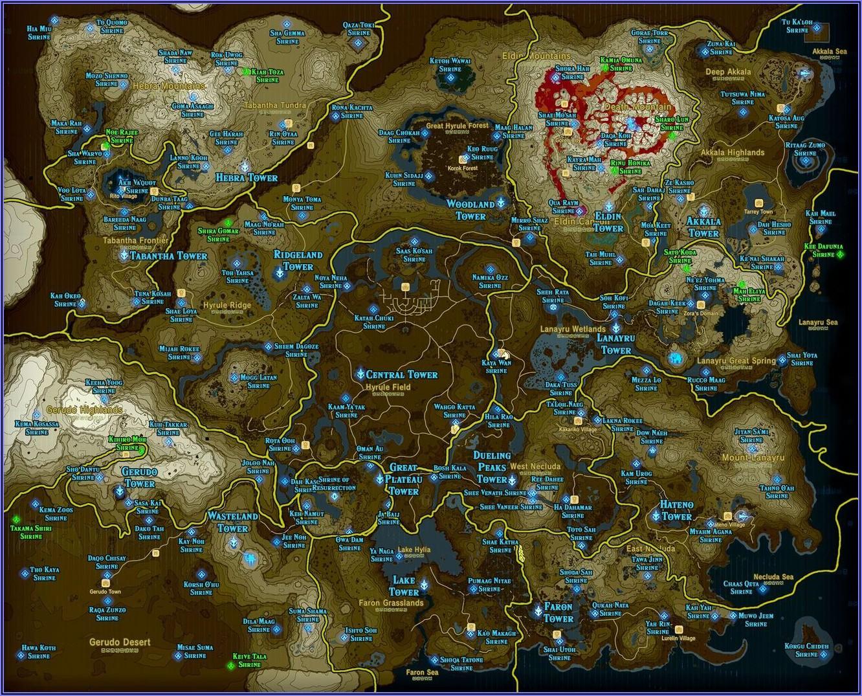 Zelda Breath Of The Wild Shrine Map