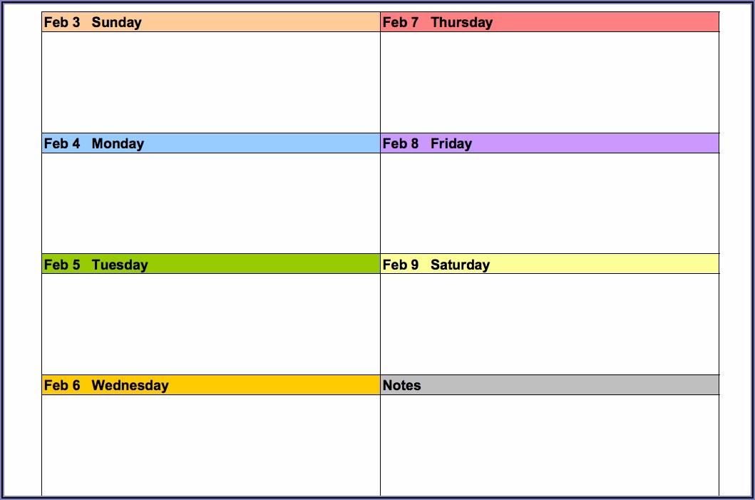 2019 Work Week Calendar Template Excel