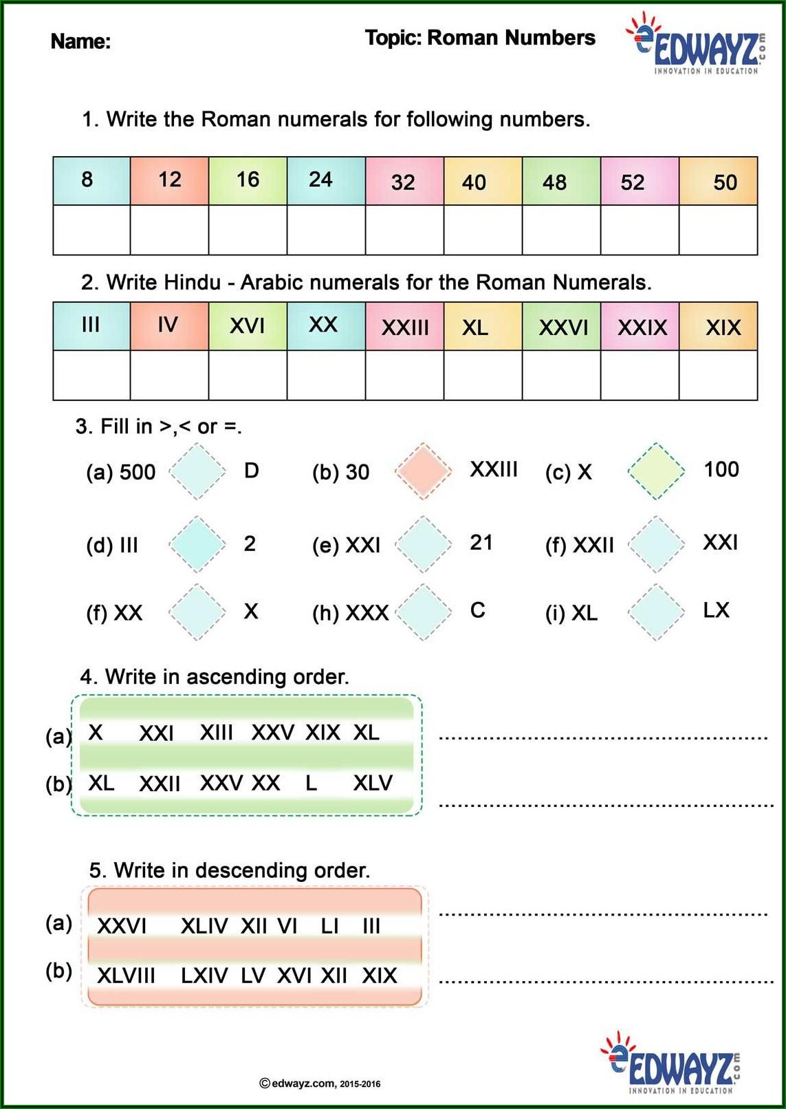 5th Grade Roman Numerals Worksheet For Grade 5