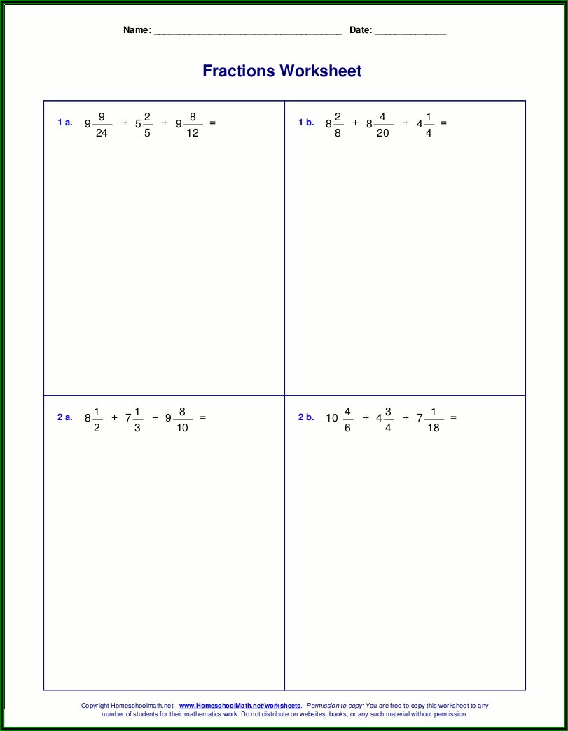 Adding And Subtracting Negative Mixed Numbers Worksheet