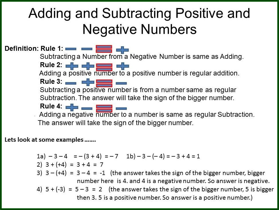 Adding Positive And Negative Numbers Worksheet Answer Key
