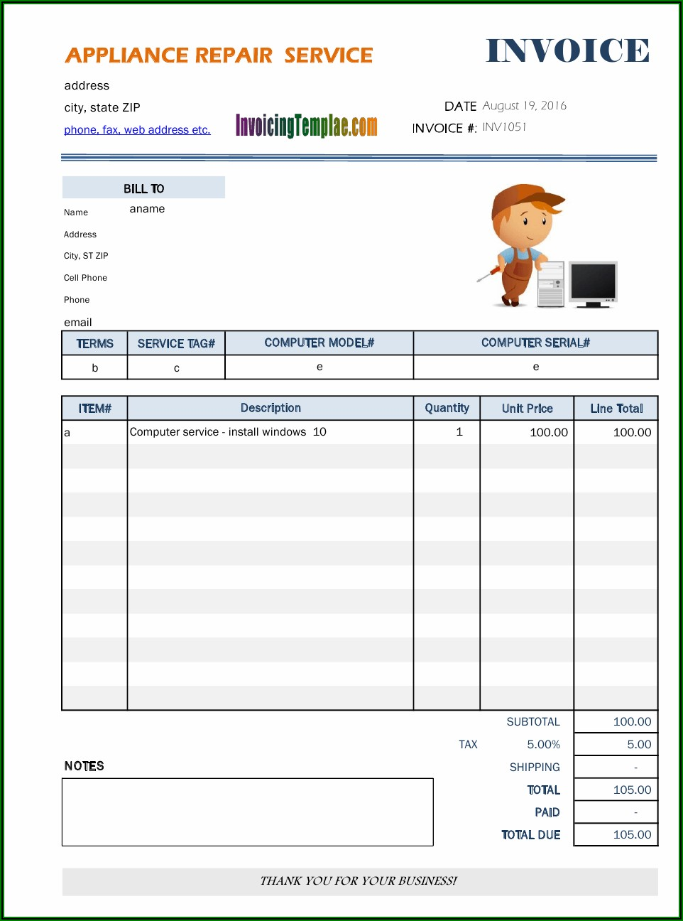 Appliance Service Invoice Template